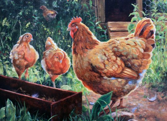 Chicken and two Chicks by Donna Crawshaw