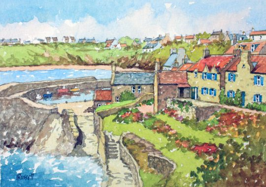 Fishing Village at Crail Near Fife Watercolour by Irvine Russell