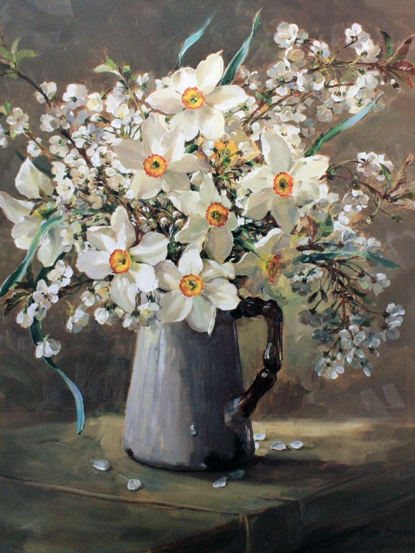 Narcissus and Wild Cherry Blossom by Anne Cotterill