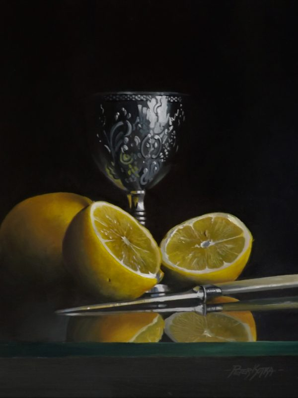 Silver Goblet and Lemons by Peter Kotka