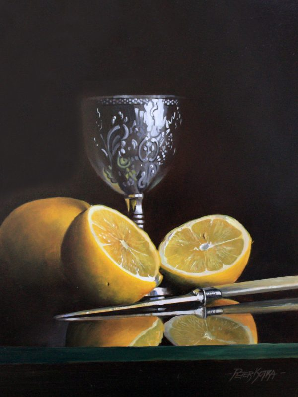 Silver Goblet and Lemons by Peter Kotka