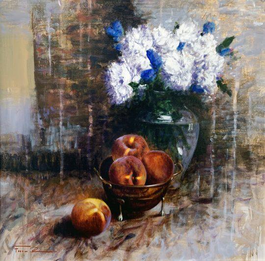 Pretty peaches an original painting by Raffaele Fiore